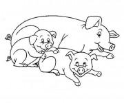 Coloriage et dessins gratuit Mère Cochon et ses petits à imprimer