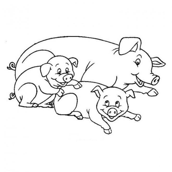 Coloriage m re cochon et ses petits dessin gratuit imprimer - Dessin cochon debout ...