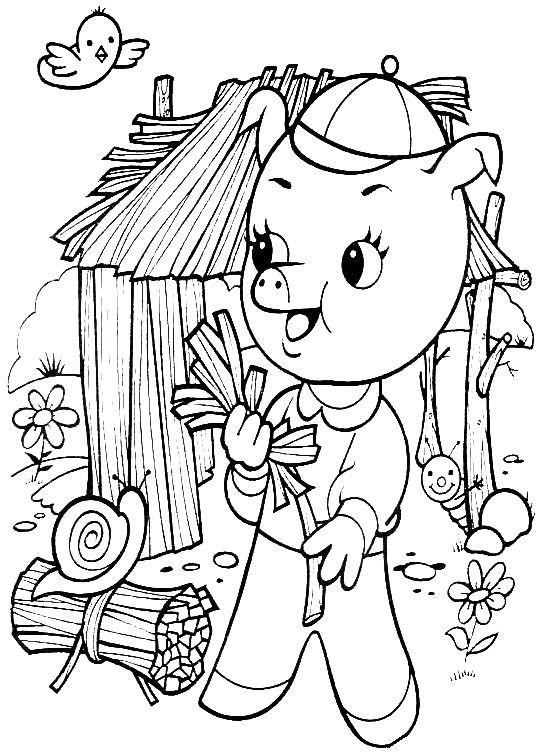 Coloriage et dessins gratuits Petit Cochon devant sa maison à imprimer
