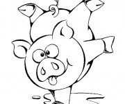 Coloriage et dessins gratuit Un Cochon sportif à imprimer