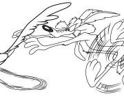 Coloriage et dessins gratuit Coyote et Bip Bip dessin animé à imprimer