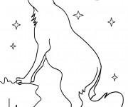 Coloriage et dessins gratuit Coyote sous la lune à imprimer