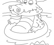 Coloriage Crocodile dans l'eau
