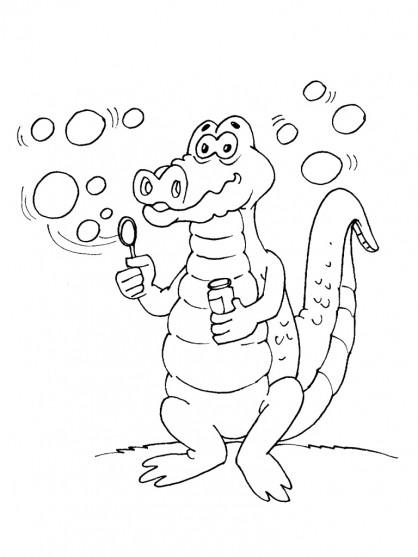 Coloriage crocodile et bulles de savon dessin gratuit imprimer - Dessin anime de crocodile ...