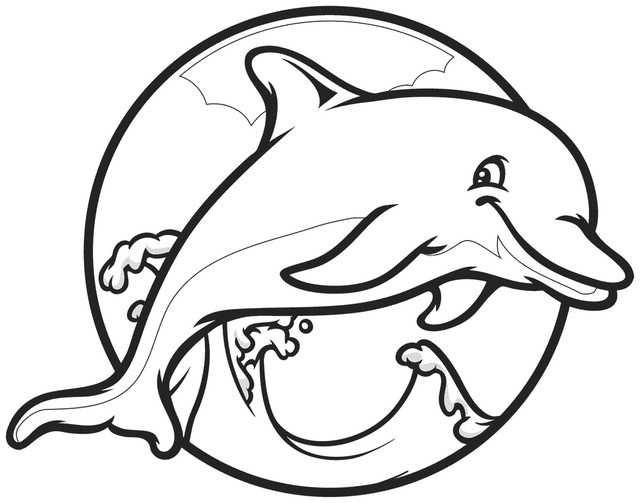 Coloriage Dauphin dans un cercle dessin gratuit à imprimer
