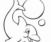 Coloriage et dessins gratuit Dauphin en jouant à imprimer