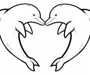Coloriage Dauphins coeur
