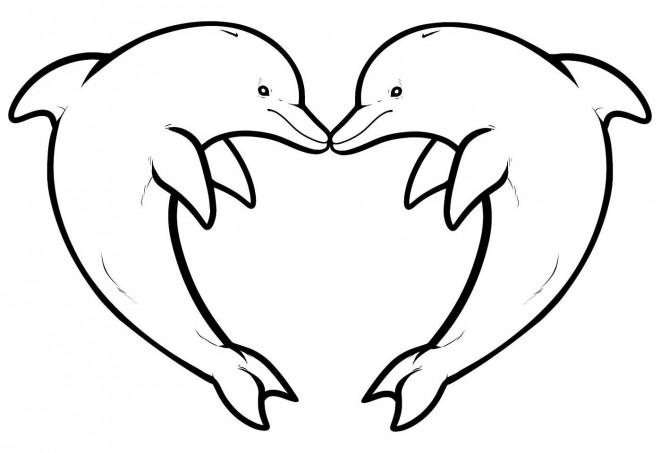 Coloriage Dauphins Coeur Dessin Gratuit à Imprimer