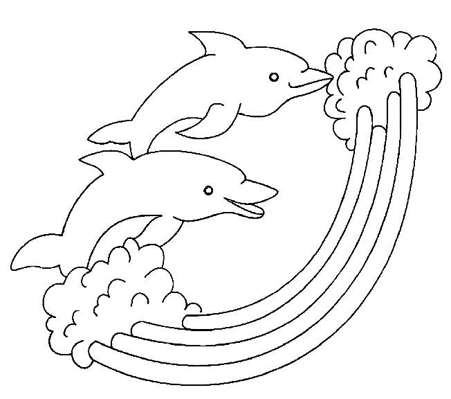 Coloriage dauphins et arc en ciel dessin gratuit imprimer - Images dauphins a imprimer ...