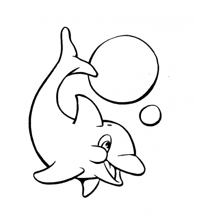 Coloriage et dessins gratuits Patit Dauphin adorable à imprimer