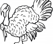 Coloriage et dessins gratuit Dinde en noir à imprimer