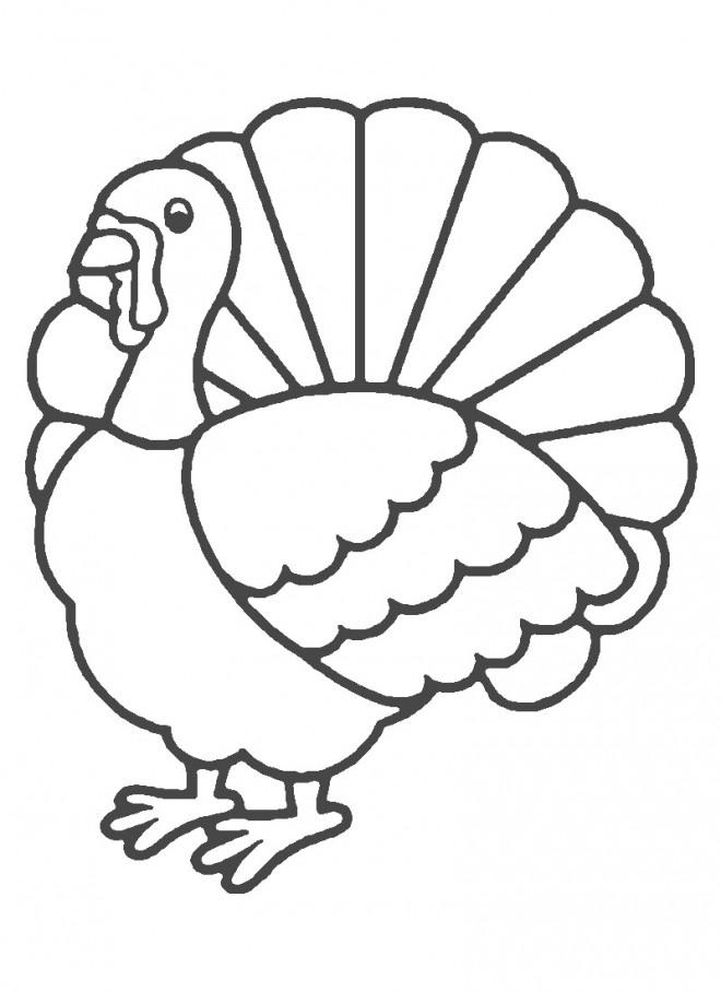 Coloriage et dessins gratuits Dinde en noir et blanc à imprimer