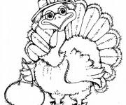 Coloriage et dessins gratuit Dinde Mascotte à imprimer