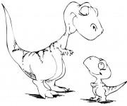 Coloriage et dessins gratuit Deux petits Dinosaures à imprimer