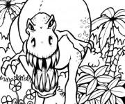 Coloriage et dessins gratuit Dinosaure attaquant à imprimer