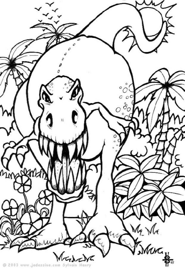 Coloriage Dinosaure Imprimer.Coloriage Dinosaure Attaquant Dessin Gratuit A Imprimer
