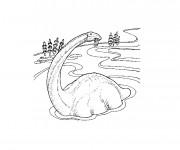 Coloriage Dinosaure Diplodocus qui mange