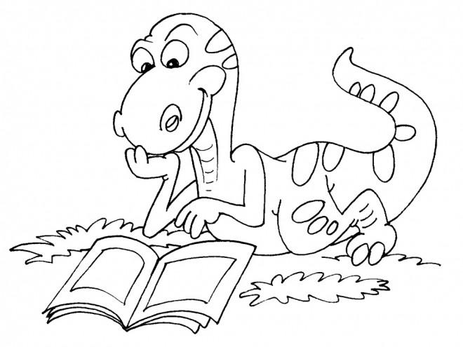 Coloriage dinosaure qui lit dessin gratuit imprimer - Dessins de dinosaures ...