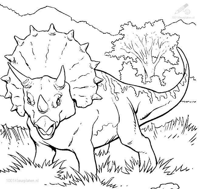 Coloriage Dinosaure Tricératops Facile Dessin Gratuit à Imprimer