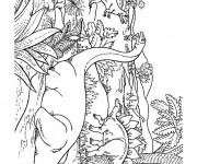 Coloriage Dinosaures dans la forêt