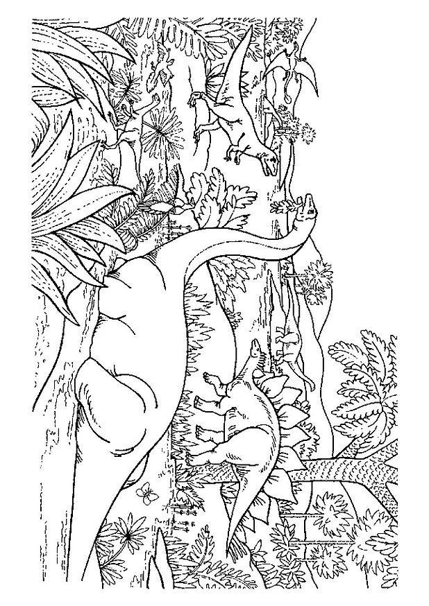 Coloriage dinosaures dans la for t dessin gratuit imprimer - Coloriage de dinosaure a imprimer gratuit ...