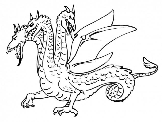 Coloriage Dragon A Trois Tetes Dessin Gratuit A Imprimer