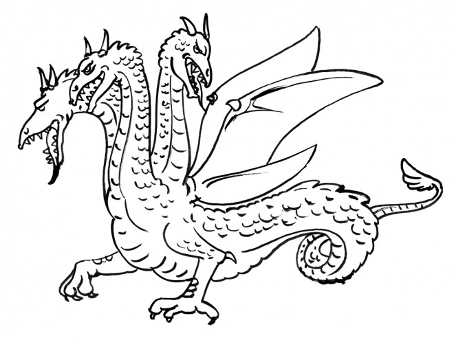 Coloriage dragon trois t tes dessin gratuit imprimer - Dessin dragon facile ...