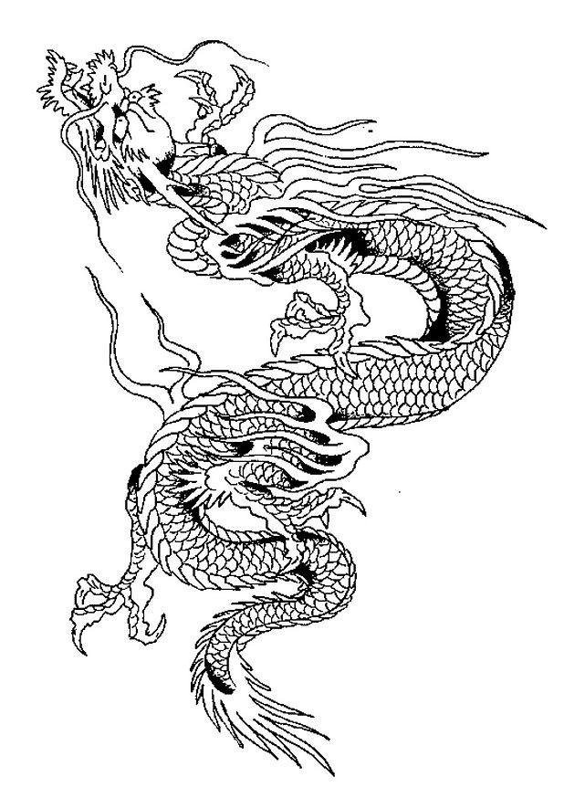coloriage dragon chinois en noir et blanc dessin gratuit. Black Bedroom Furniture Sets. Home Design Ideas