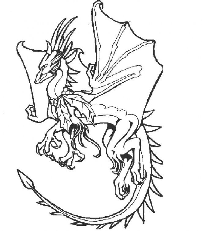 Coloriage et dessins gratuits Dragon en ouvrant ses aigles à imprimer