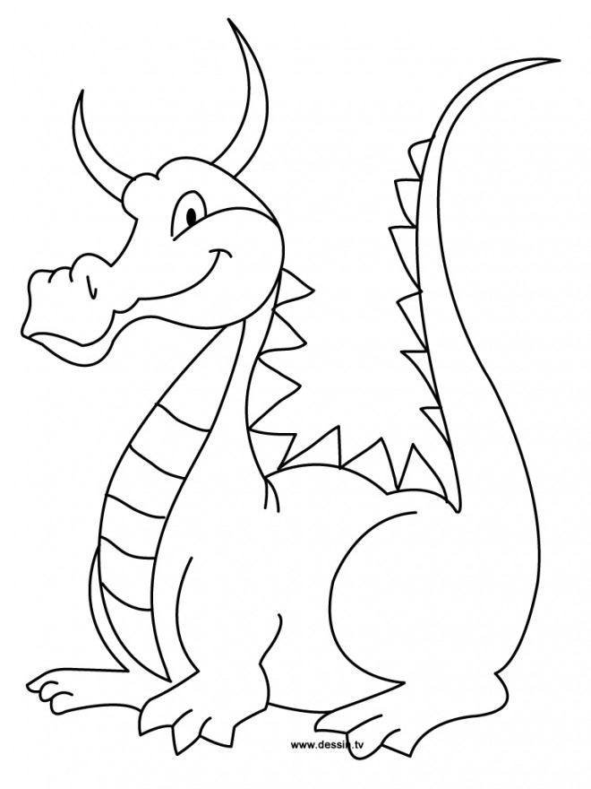 Coloriage dragon en souriant dessin gratuit imprimer - Dessins dragon ...