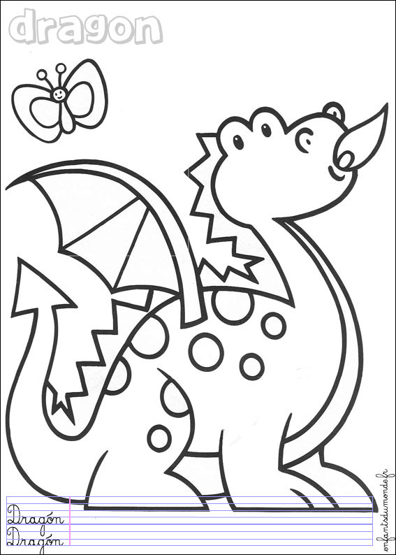 Coloriage dragon facile dessin gratuit imprimer - Coloriages de dragons ...