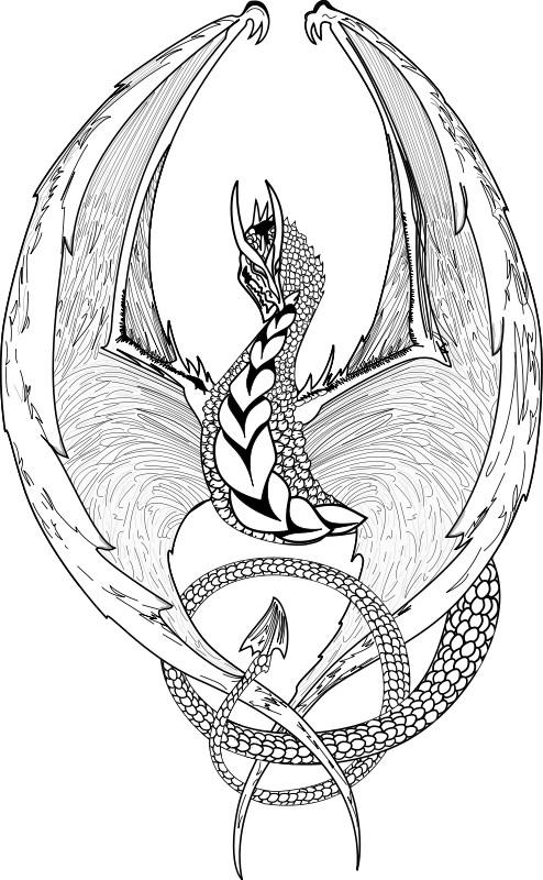 Coloriage image de dragon noir et blanc dessin gratuit - Dessin noir et blanc animaux ...