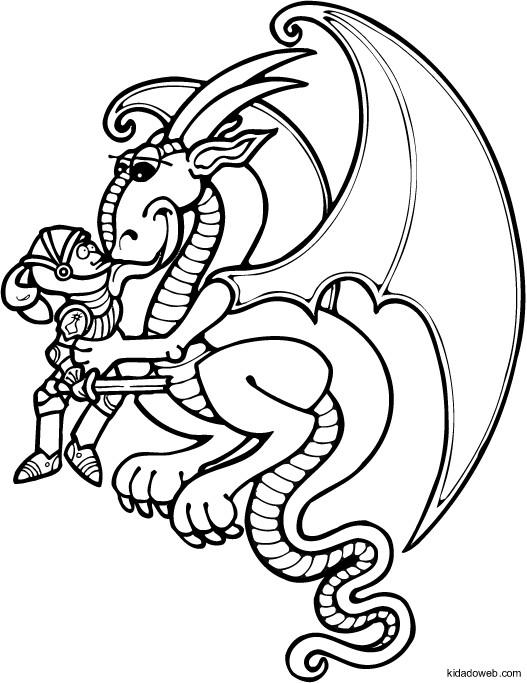 Coloriage et dessins gratuits Le Dragon aime le chevalier à imprimer