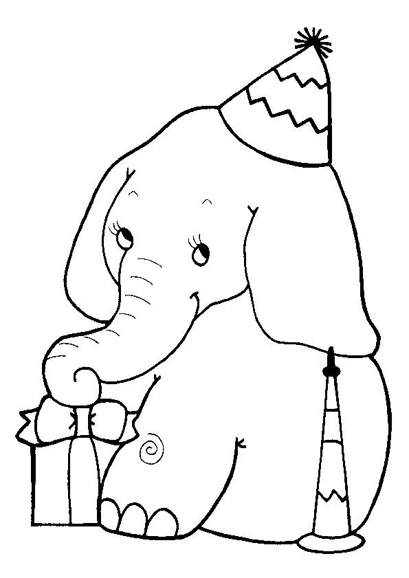 Coloriage et dessins gratuits Anniversaire d'Éléphant à imprimer