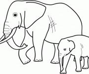 Coloriage et dessins gratuit Éléphant avec son bébé à imprimer