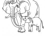 Coloriage Éléphant et son petit