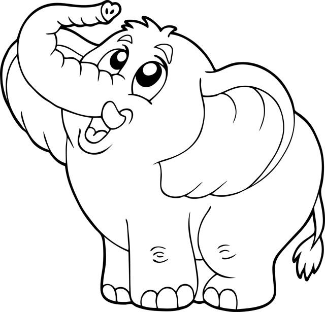 Coloriage Elephant Heureux Dessin Gratuit A Imprimer