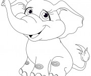 Coloriage Éléphant mignon