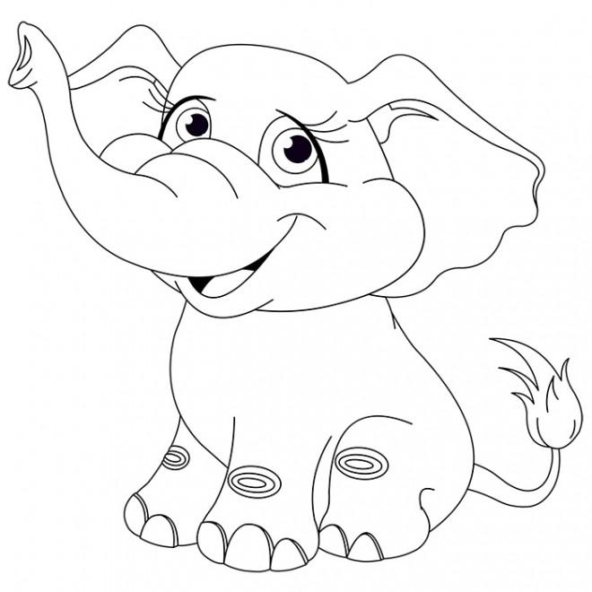 Coloriage Famille Elephant.Coloriage Elephant Mignon Dessin Gratuit A Imprimer