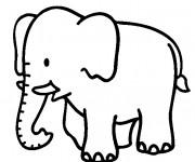Coloriage et dessins gratuit Éléphant pour enfant à imprimer