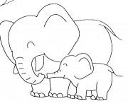 Coloriage et dessins gratuit Éléphant s'amuse avec son petit à imprimer
