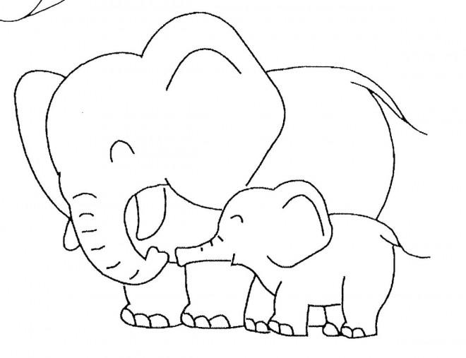 Coloriage et dessins gratuits Éléphant s'amuse avec son petit à imprimer