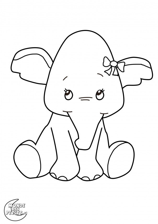 coloriage l phant trop mignonne dessin gratuit imprimer. Black Bedroom Furniture Sets. Home Design Ideas