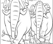 Coloriage Éléphants dessin animé