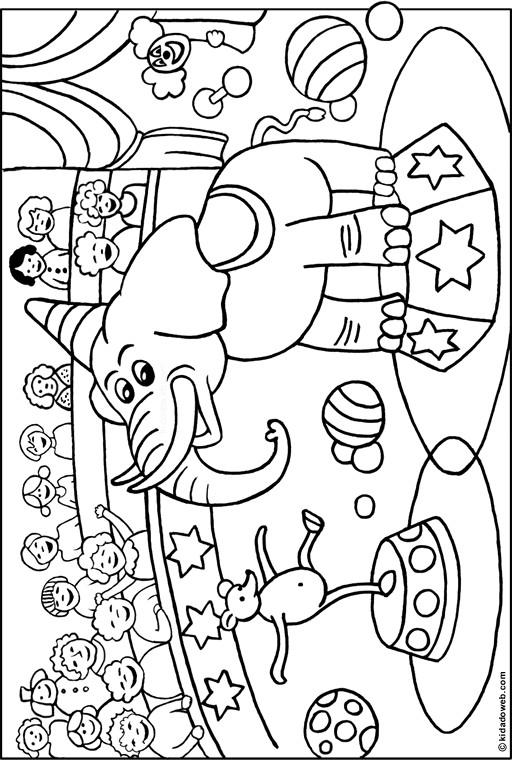 Coloriage et dessins gratuits Les spectacle d'Éléphant à imprimer