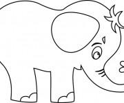 Coloriage Petit Éléphant portant une fleur