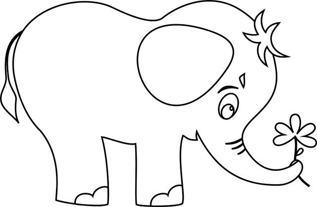 Coloriage Petit Elephant Portant Une Fleur