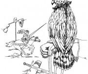 Coloriage et dessins gratuit Faucon et et guerrier à imprimer