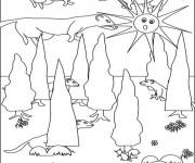 Coloriage et dessins gratuit Furets dans la forêt à imprimer