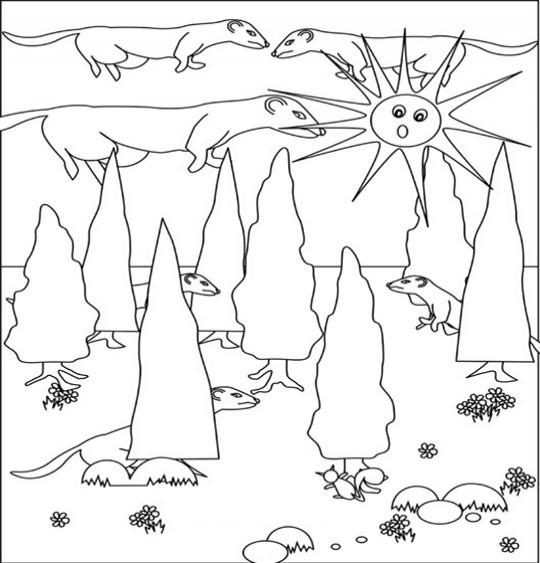Coloriage et dessins gratuits Furets dans la forêt à imprimer